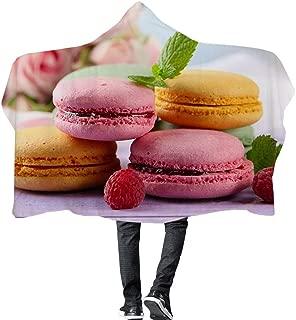GOLDT1 Dessert Series Hooded Blanket, Girls Blanket Double-Layer Plush Printing Air-Conditioned Room Warm Hat Beach Towel Winter Bathrobe (L: 195 145cm, S: 145 110cm)