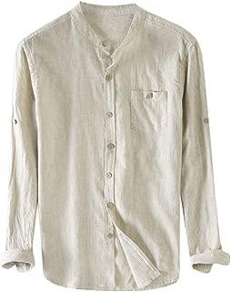 Men's Cotton Linen Shirts,Striped Slim-Fit Long-Sleeve Gingham Poplin Shirt Button Down Shirts Pocket Tops