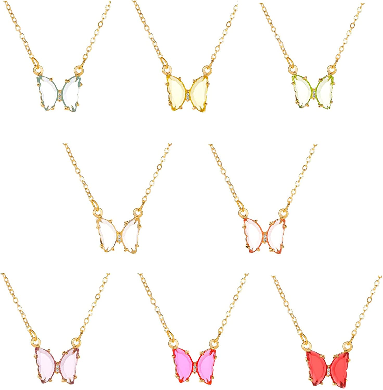 8Pcs Crystal Butterfly Necklace Colorful Transparent Rhinestone Butterfly Animal Pendant Necklace Shiny Jewelry for Women Girl
