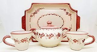 Set 2 Tazzine Vassoio Zuccheriera Linea Fiori Rosa Monocromo Handmade Le Ceramiche del Castello Made in Italy
