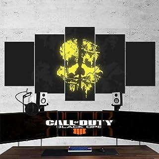 QMCVCDD Cuadro En Lienzo 150X80 Cm Impresión De 5 Piezas Call of Duty Black Operation Skull Logo Material Tejido No Tejido Impresión Artística Imagen Gráfica Decoracion De Pared
