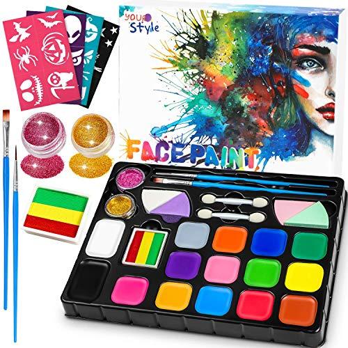 Dookey Pintura Facial, Maquillaje al Agua, Pinturas Cara para Fiestas/Cosplay/Halloween, con 17 Colores, 2 Purpurina, 24 Formas de Plantilla, ect...