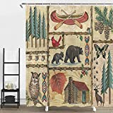 Cabin Shower Curtains, Bear and Owl Deer in Forest Lake Painting, Polyester Fabric Waterproof Bathroom Bath Curtains with Shower Hooks, 69x70inches