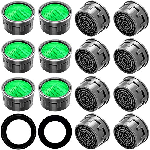OIIKI 20 Set Faucet Aerator, Flow Restrictor Insert Faucet Aerators Replacement Parts, for Bathroom or Kitchen, Including 20PCS Green Faucet Aerator, 20PCS M22 Rubber Washers, 20PCS M24 Rubber Washers