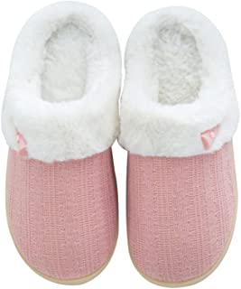 NineCiFun Women's Slip on Fuzzy Slippers Outdoor House Slippers Fur Lined