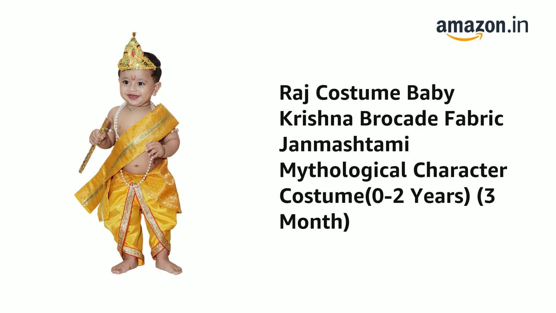 Raj Fancy Dresses Baby Krishna Brocade Fabric Janmashtami Mythological Character Costume 2