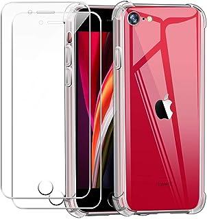 Funda para iPhone SE 2020 con Dos Cristal Templado Protector de Pantalla,Suave TPU Transparente Gel Silicona Anti Caída Pr...