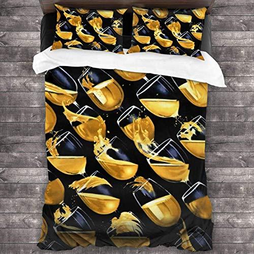 N \ A Juego de ropa de cama de vino blanco en copas de vino, juego de edredón decorativo suave, juego de cama de 3 piezas, 218 x 177 cm, talla única