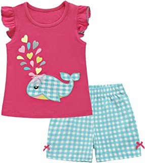 Toddler Baby Girls Summer Clothes Cartoon Whale Print Ruffle Tops Vest Plaid Shorts Pants Kids 2Pcs Outfit Set
