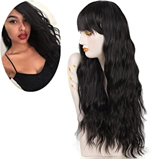 netgo Women's Black Wig Long Kinky Curly Wavy Hair Black Wigs for Girl Heat Friendly Synthetic Party Cosplay Wigs