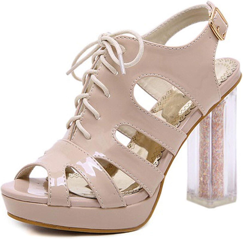 HuangKang Platform High Heels Women Peep Toe Sandals Party shoes Transparent Square Heel Back Strap Sandalia