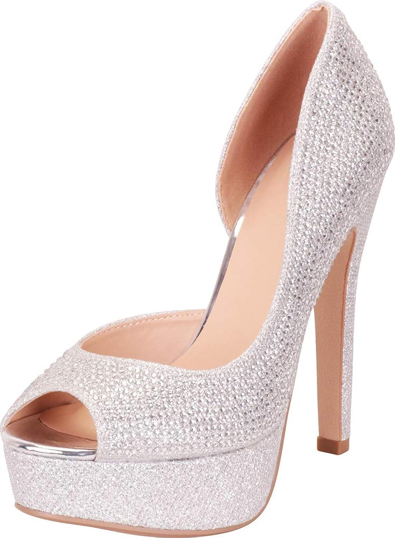 Cambridge Select Women's Peep Toe Crystal Rhinestone Platform High Heel Pump