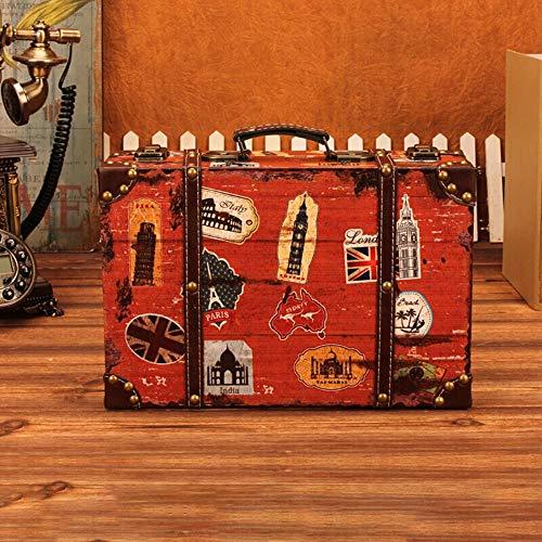 BTTNW BA Baule Vintage Vintage in Pelle della Valigia di Corsa for la casa Feste di Matrimonio della Decorazione Visualizza Crafts Valigia di Legno (Colore : Rosso, Dimensione : 30×20×9cm)
