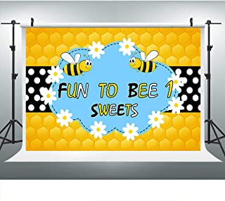 Sweet Bee-Day Photography Backdrop for 1st Birthday Party, 9x6FT, Bumblebee Baby Girl Princess Honeycomb Background, Cake Table Banner Photo Booth Studio Props LHLU337