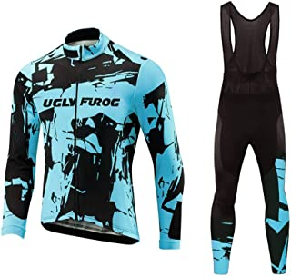 Uglyfrog Men Cold Bike Wear Thermal Cycling Jersey Suits with Fleece