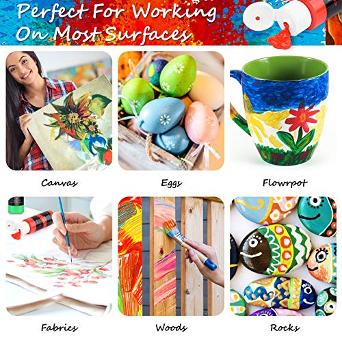 Acrylic Paint Set, Caliart 24 Colors (59ml, 2oz) Art Craft Paint Supplies for Canvas Halloween Pumpkin Ceramic Rock Painting, Rich Pigments Non Toxic Paints for Kids Beginners Students Artist Painter
