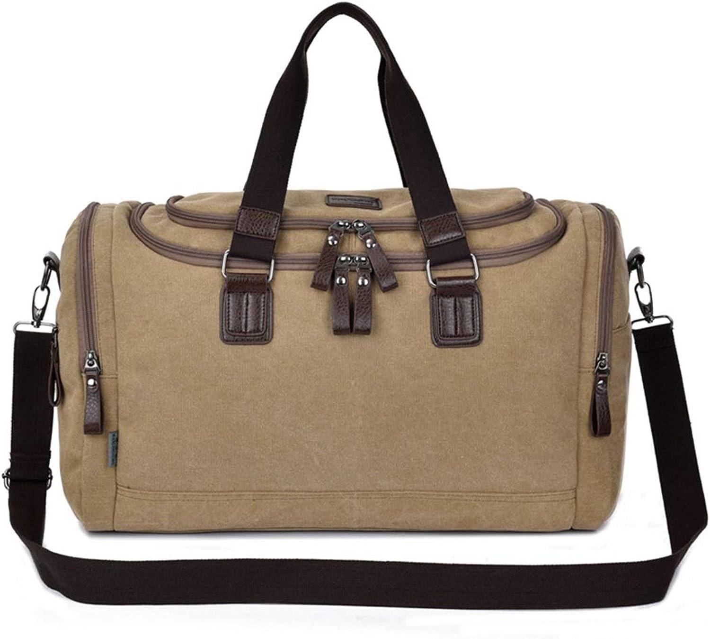 ArotOVL Hohe Kapazitt Mnner Leinwand Reise Gepck Tasche Schulter Crossbody Tasche Handtasche Weekender Paket (Farbe   Khaki)