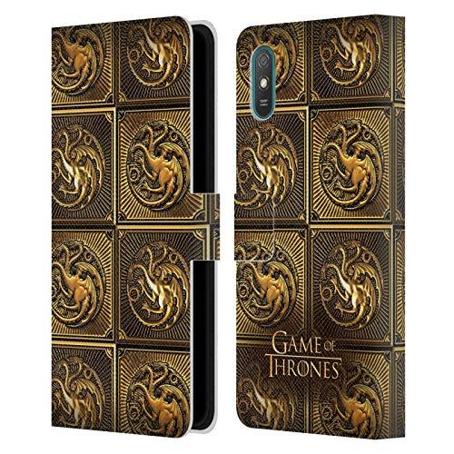 Head Case Designs Ufficiale HBO Game of Thrones Targaryen Sigilli Dorati Cover in Pelle a Portafoglio Compatibile con Xiaomi Redmi 9A / Redmi 9AT