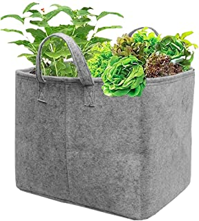 """HIPPO Non Woven Fabric Grow Bags, Grey, 14"""" X 18"""" X 14"""", 2 Pieces"""