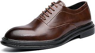 DADIJIER Oxfords Vestido Derby Zapatos para Hombres Redondo Burnish Toe 5-Eye Lace Up Block Tacón de Piel sintético de Cue...