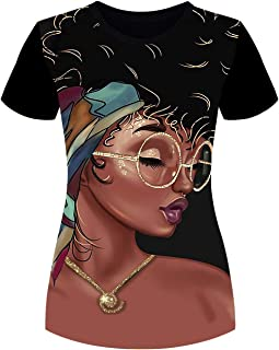 Women's T-Shirts Black Woman Afro Natural Hair 3D Floral Print Casual Tops for Women Tees