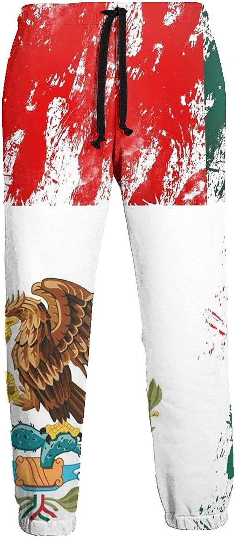 Mens Elastic Waist Sweatpants Flag of Mexico Joggers Sweatpants for Gym Training Sport Pants
