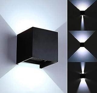 2 piezas Lámpara de pared LED moderna de 12W /aplique pared interior/exterior, ángulo de haz ajustable a prueba de agua, caja de aleación de Aluminio(Negro-6000k)