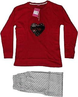 3bc0935db6 Russo Tessuti Pigiama Donna Mitico di IRGE Manica Lunga Caldo Cotone Cuore  Paillettes-Rosso-