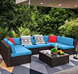 Devoko 7 Pieces Outdoor Sectional Sofa All-Weather Patio Furniture Sets Manual Weaving Wicker Rattan Patio Conversation Sets with Cushion and Glass Table (Blue)