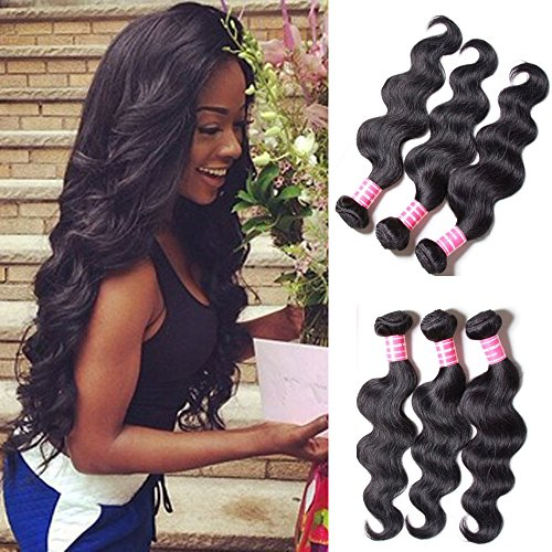 """BODY WAVE Brazilian 3 Bundle Pack GREAT DEAL ADD LACE CLOSURE 30% OFF Wavy Virgin Hair Weave Extensions 100 Human Hair GUARANTEED or Natural Black Color -18""""20""""22"""""""
