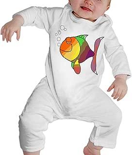 Just Born Baby Boys Girls Romper Jumpsuit Rainbow Fish Cotton Long Sleeve Climb Jumpsuit