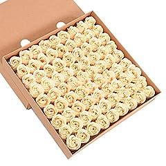 Idea Regalo - ZUMUii Butterme 81pcs Mano Bagno profumato Sapone del germoglio della Rosa Petali di Fiori di Favore di Nozze in Contenitore di Regalo (Oro)