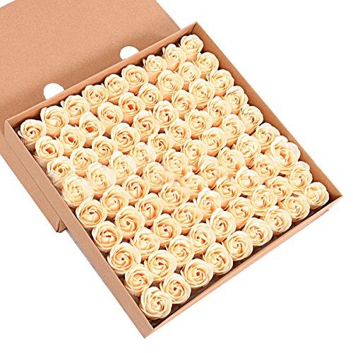 Butterme 81pcs handgemachte Duftbadeseife Rosen-Knospe Blütenblätter Hochzeits -Bevorzugung in Geschenkbox,Groß für Weihnachten Geburtstag