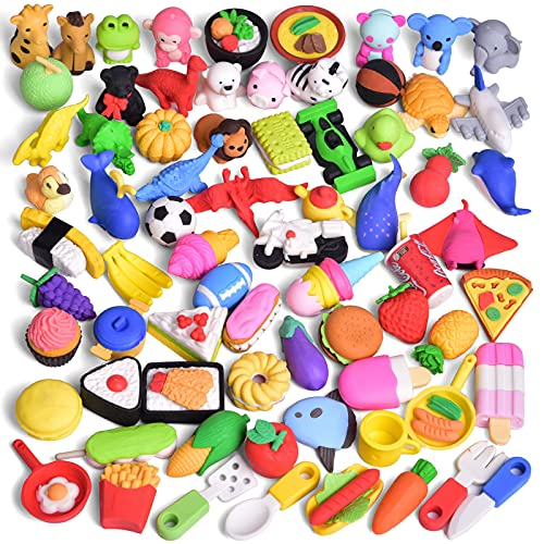 FUN LITTLE TOYS 72 Pcs Pencil Erasers for Kids, 3D Cute Mini Animal Food Take Apart Erasers for Party Favors, Classroom Rewards Game Prizes Treasure Box Birthday Gifts School Supplies Novelty Toys