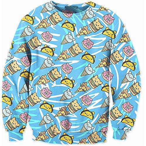 SHUAIFA Unisex Christmas Cat Ice Cream Pattern Sweatshirt Novelty Sweater Men Women 3D Print Funny Xmas Pullover Crewneck Sweatshirt Wy - 2034 3XL