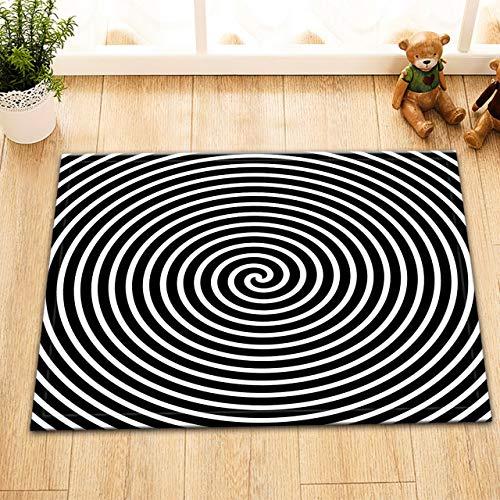 Aliyz Rotierende hypnotische Whirlpool Hause Hotelzimmer Tür Bodenmatte Bad Schlafzimmer Küche Wohnzimmer Kinderteppich rutschfestes Material Flanell 40x60cm