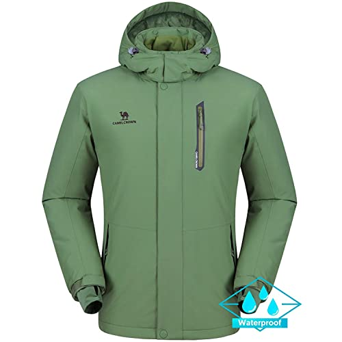 7de561d0683f7a CAMEL CROWN Herren Wasserdichte Wanderjacke Regenjacken Outdoor  Funktionsjacke Full Zip mit Fleece-Futter, Winddichte