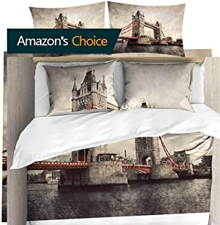 shirlyhome Deluxe Polyester Bed Sheet Set Tower Bridge in London,England,The UK Artistic Vintage,Retro Style with red Elements Bedding Elegant California King
