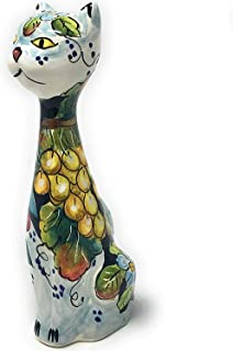 CERAMICHE D'ARTE PARRINI- Ceramica italiana artistica, gatto decorazione floreale, dipinto a mano, made in ITALY Toscana