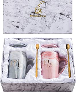 Marble Mug Set of 2 for Anniversary Gift Mr and Mrs Coffee Mug Set for Wedding Couple Creamic Mug Set Perfect for Bride and Groom Gift Box for Shower Engagement Handmade Gold Trims 13 Ounce