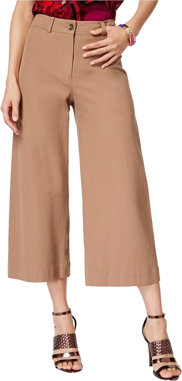 Trina Turk Womens Wide Leg Casual Cropped Pants, Beige, 8