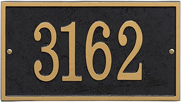 Whitehall Personalized Cast Metal Address Plaque Custom House Number Sign Rectangle 11 X 6 25 Black With Gold Numbers
