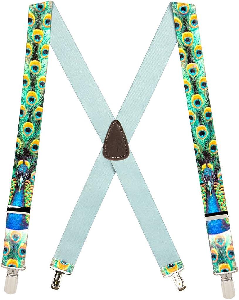 SuspenderStore Men's Peacock 1.5-Inch Wide Suspenders - Small Pin Clip