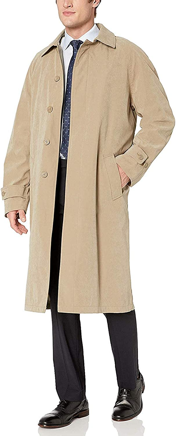Adam Baker Men's Single Breasted Breasted Full Length Trench Coat All Year Round Raincoat