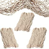 Fish Net Decorative [3 Pack] Natural Cotton Decorative Fishing Net - For Mermaid Party Decorations, Hawaiian, Pirate, luau Theme. Nautical Beach Wall Table Decor - Each is 14 ft x 4 ft by 4E's Novelty