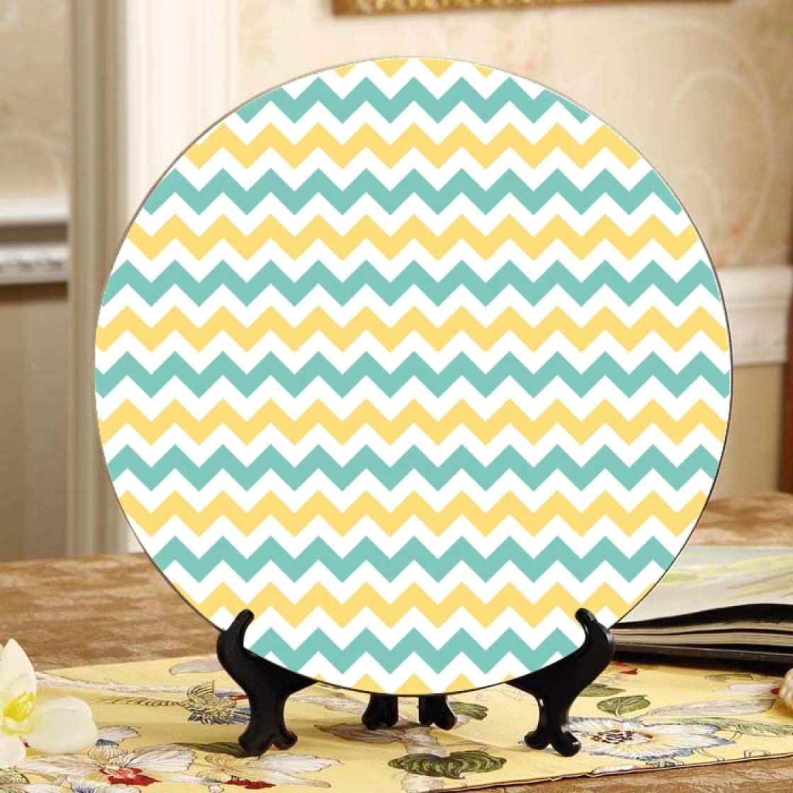 Denver Mall Lajro Zigzag Geometric Simple Summer Color Cute Super sale Decoration Plate