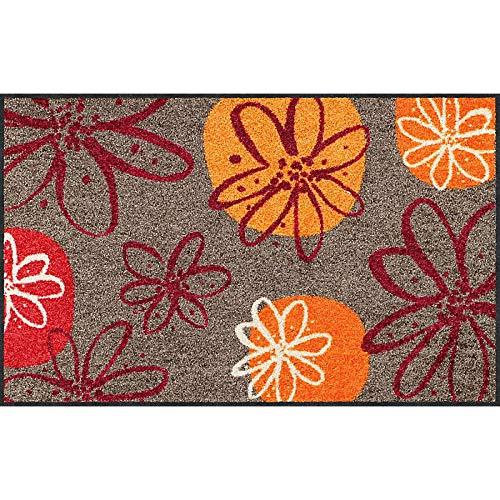 Erwin Müller Fußmatte, Schmutzfangmatte, Fußabtreter rutschhemmend, Blumenmotiv braun-rot, Größe 40x60 cm - robust, langlebig, pflegeleicht, für Fußbodenheizung geeignet (weitere Farben, Größen)