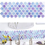 VANCORE 8 Sheets Peel and Stick Tile Backsplash for Kitchen Bathroom, Self Adhesive 3D Mosaic Wall Sticker Decorative Tiles (Purple-Lantern)