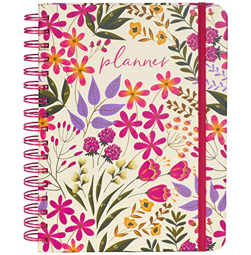 Women's Undated Planner Weekly and Monthly, Cute Pink Floral Hardcover Personal Organizer, Guided Journal with Stickers, to Do Lists, Self Reflection and Notes Pages, Wildflowers