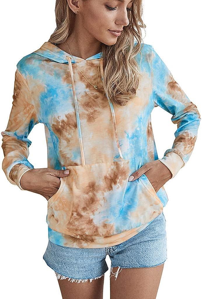 Hoodies for Women ,Women's Drawstring Hooded Gradient Tie-dyed Print Pocket O-Neck Long Sleeve Pullover Top Sweatshirt